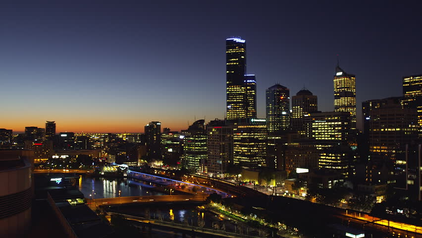 Elevated View of Melbourne at Nightfall looking North West