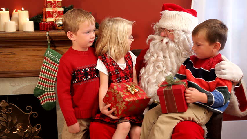 santa claus with three children hd stock video clip - Pictures With Santa Claus