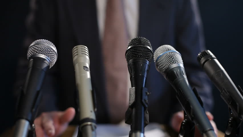 Press conference, closeup