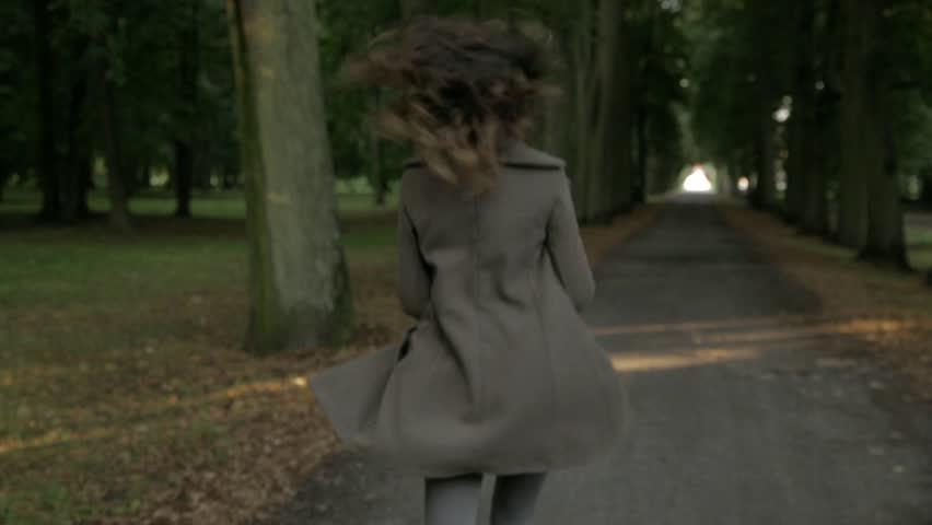 Sad woman running
