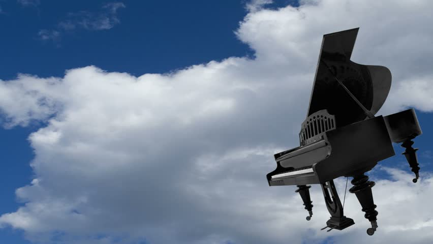 Flying piano. Animated from my photographs.