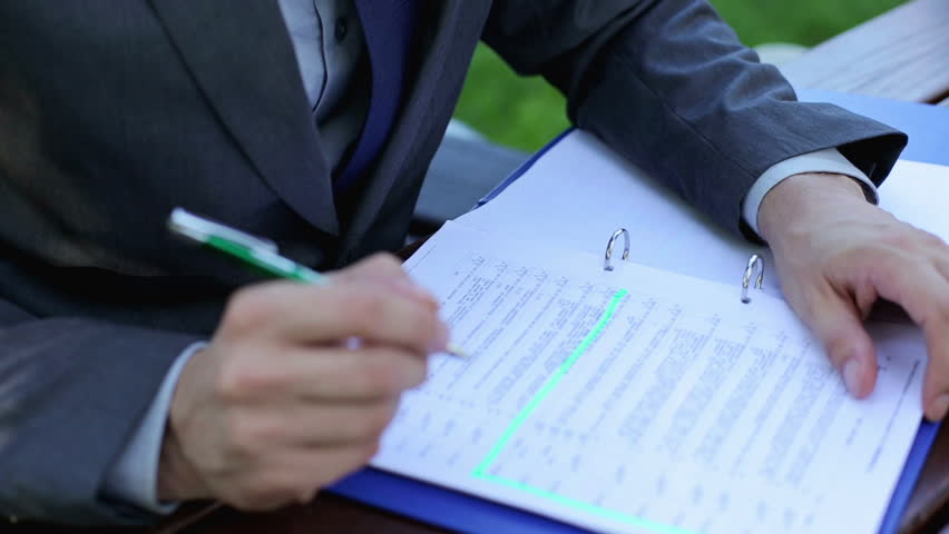 Businessman writing notes in documents