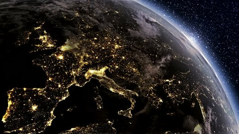 Highly detailed. 3d Render using satellite imagery (NASA).  Planet earth Europe zone with night time and sunrise from space.