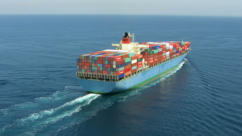 Aerial shot of container ship in ocean | Shutterstock HD Video #4586981