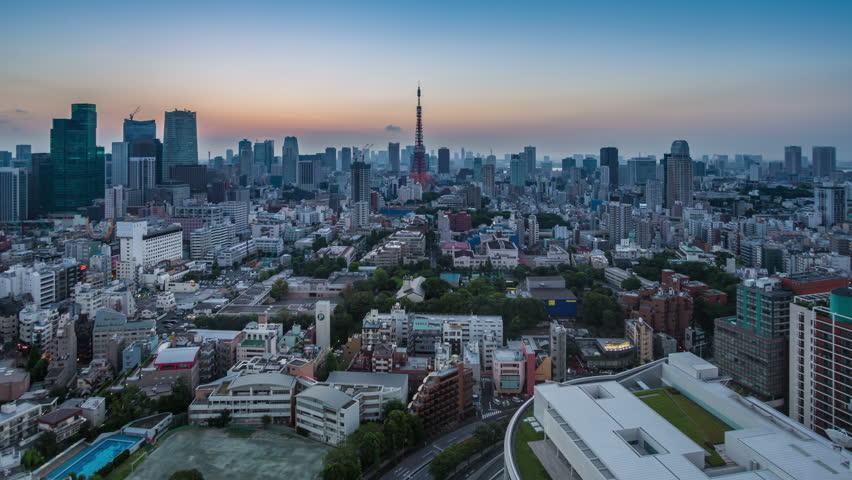 Timelapse of Tokyo city at sunrise