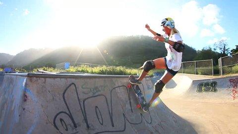 Blonde Girl Skateboarding (Slow Motion)