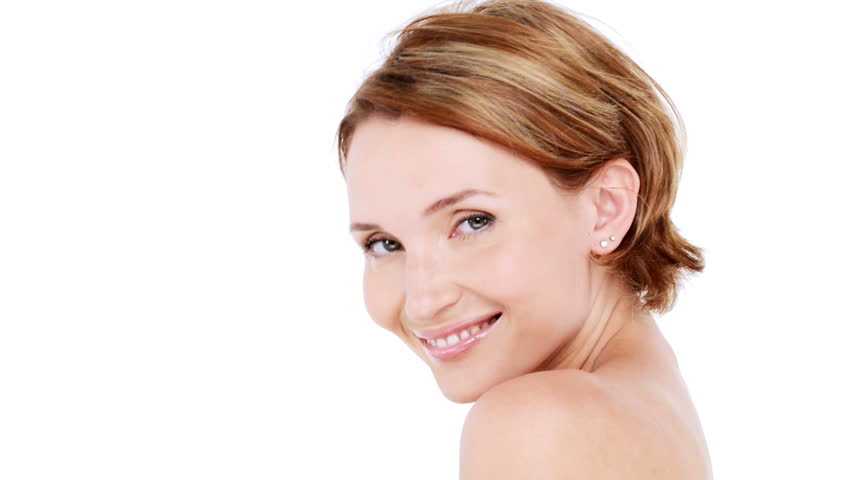 Beautiful healthy smiling woman with fresh  skin of face over white background. Full hd footage 1920x1080 | Shutterstock HD Video #4633832