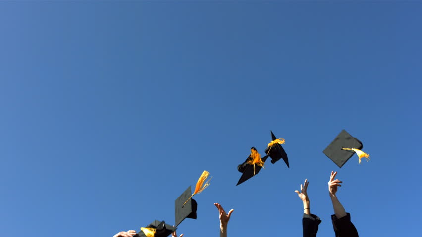 Graduates Toss Caps Into Sky Stock Footage Video 4636445 ...