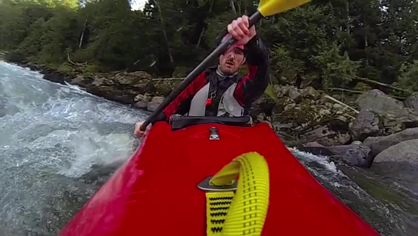 Whitewater kayaking, slow motion