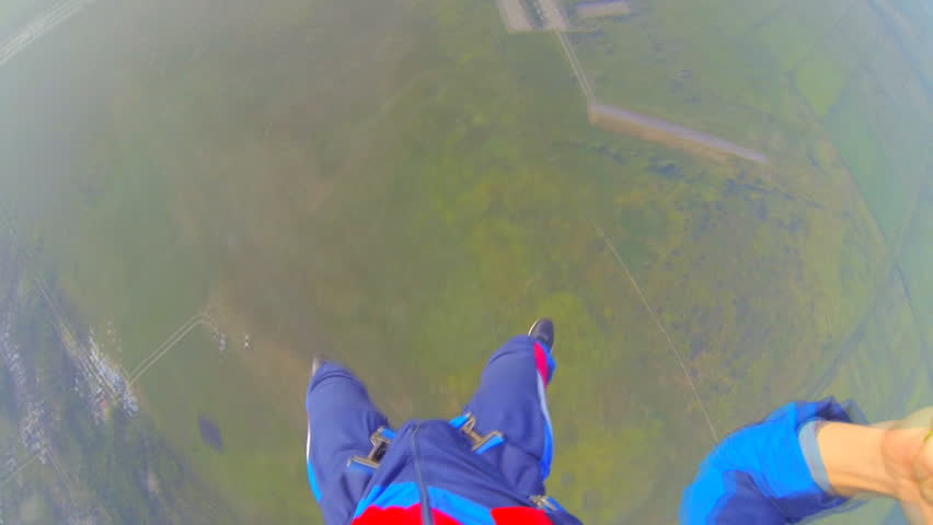 Video parachute jumps (skydiving) from a first-person video shooting process parachute opens in the first person | Shutterstock HD Video #4640540