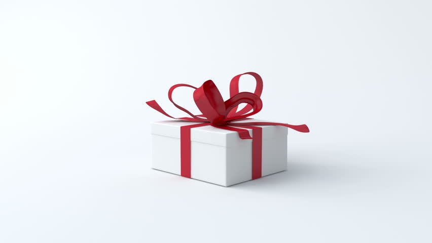 White gift box with red ribbon opening include alpha channel and white low gift box with red ribbon opening include alpha and chroma channel hd negle Images