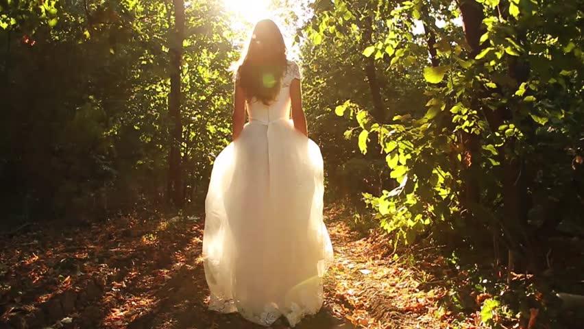 Princess Dress Woman Running Fairy Tale Forest Concept HD | Shutterstock HD Video #4654322