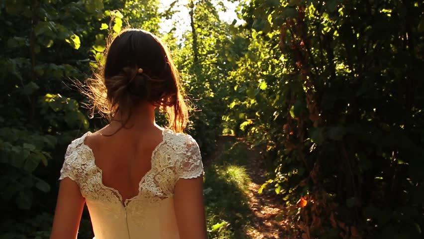 Elegant Young Female Model Vintage Dress Walking Forest HD