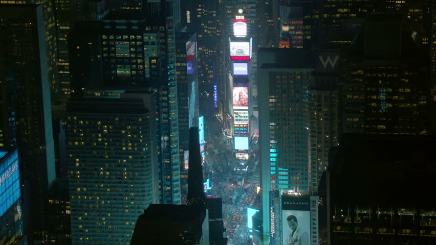 Aerial shot of Times Square, night  #4657469