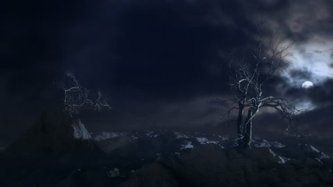 Old dead trees in a barren, rocky landscape at night, blowing in the wind. Time lapse sky and moon background composited with computer generated trees and landscape.