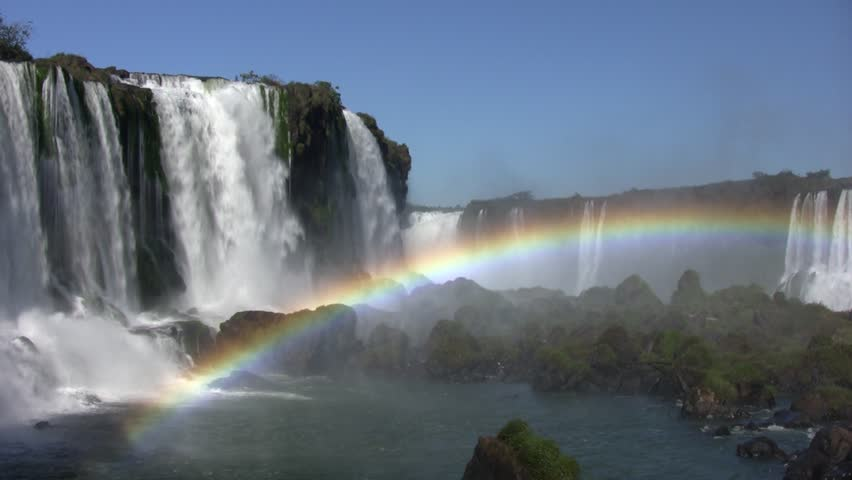 Iguazu side fall (Salto Floriano), beautiful rainbow in water spray; Brazil (HDV 1080i native, Can. HV30).