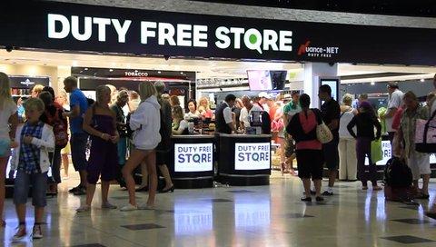 TURKEY, ANTALYA, JULY 2: 2011: People inside duty free store in Antalya international airport in Turkey, July 2, 2011