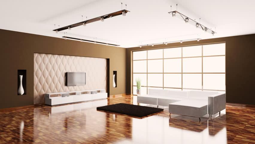 Luxury Loft Apartment Interior Tracking Shot Stock Footage Video