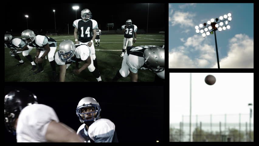 A montage grid of football players playing football and other football related scenes
