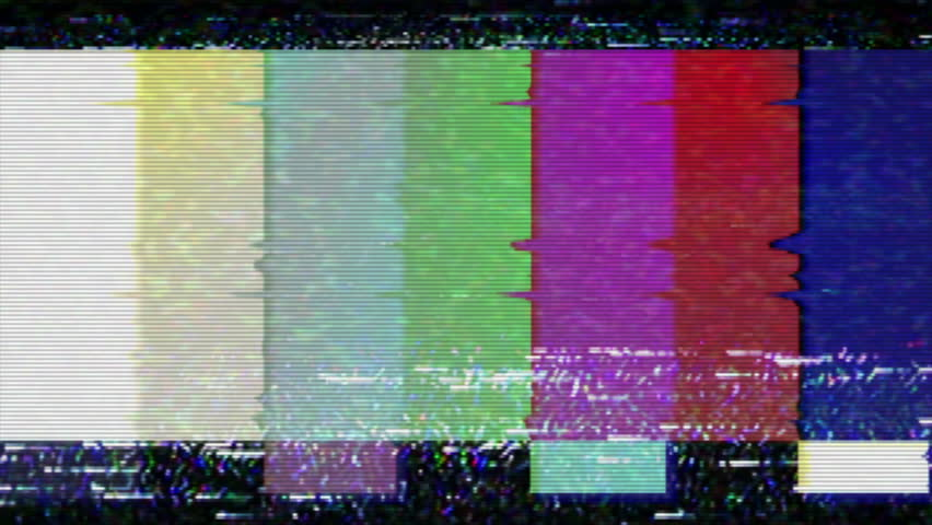 A flickering, analog TV signal with bad interference, static, and color bars. Contains two options for audio, change half-way through. | Shutterstock HD Video #4730498