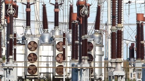 Industrial high-voltage substation power transformer at the power plant
