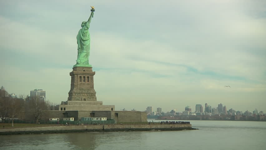 NEW YORK - CIRCA OCTOBER 2011 - Statue of Liberty at Liberty Island, POV from a boat in October 2011. | Shutterstock HD Video #4739042