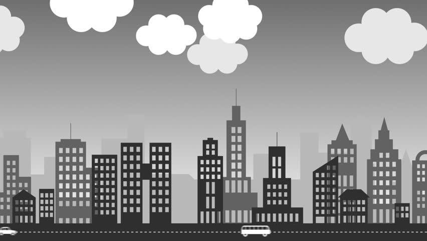 Skyline Of A City With Skycrapers. Animation Presents ...