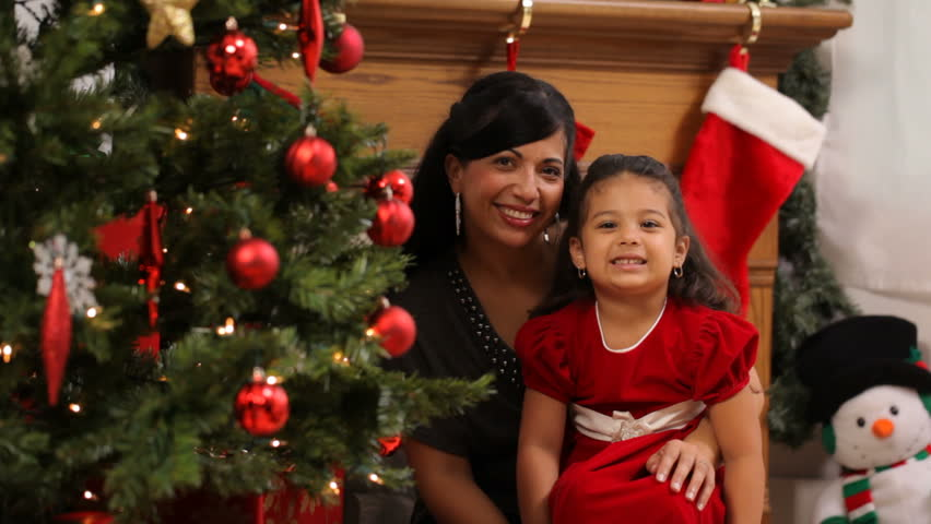 Mother Celebrating Christmas With Daughter
