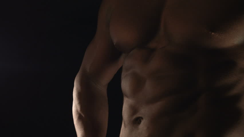 Muscular man in the lights