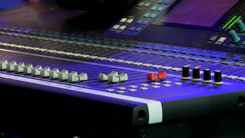 Stage audio control panel close up