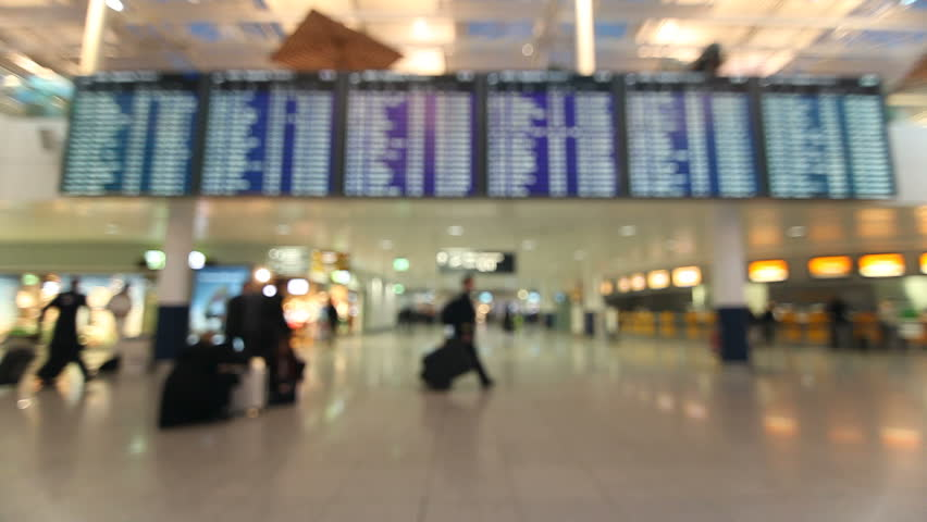 Airport terminal with passengers