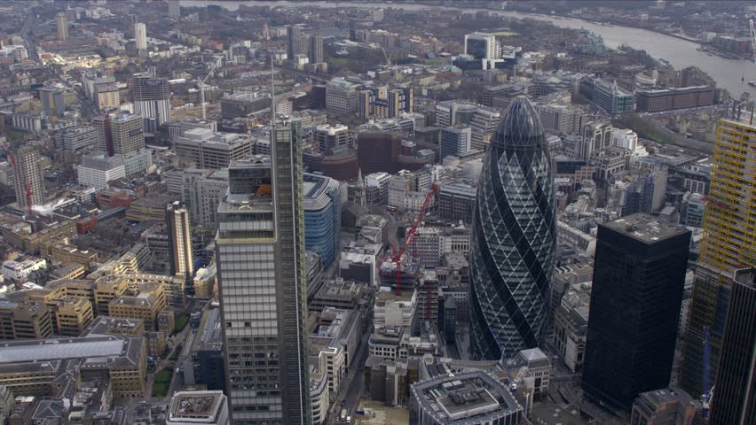 Panoramic aerial view of the City of London Financial District.