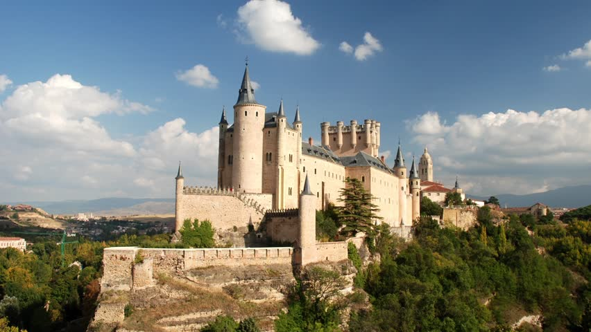 Segovia Castle (Alcazar of Segovia) time lapse video. Castile and Leon, Spain