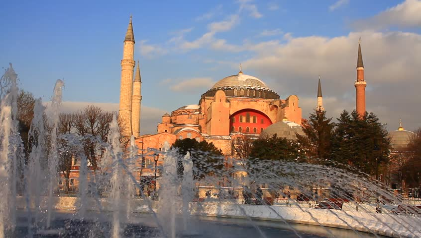 Hagia Sophia in Winter. Pan Video. It's a museum as a world wonder.