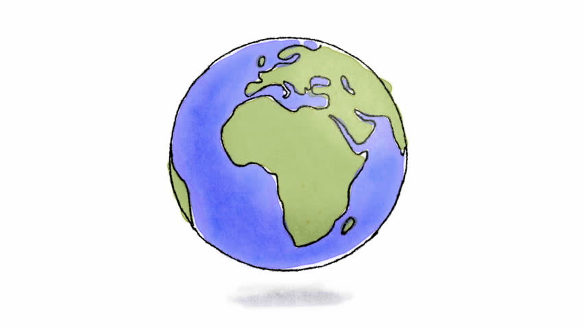 Hand drawn Earth spinning. Loop-ready hand drawn animation of Earth spinning (charcoal and watercolor)   Shutterstock HD Video #4850387
