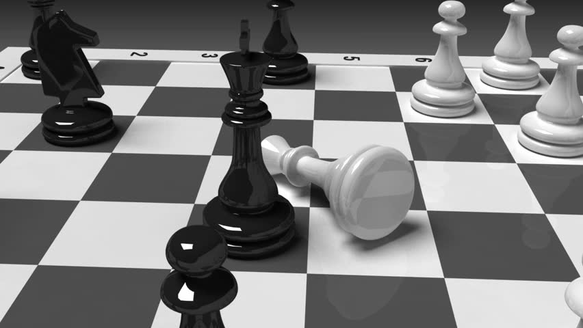 Rotating Chessboard With Various Chess Pieces On It