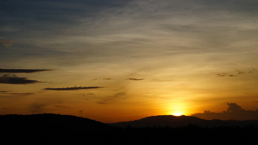 Time lapse of sunrise with silhouette mountain background #4860518