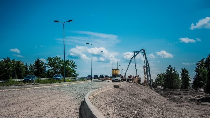 Bridge construction. Time lapse.