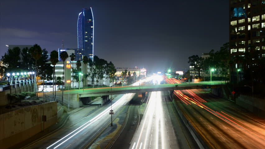 Time Lapse of Traffic in Downtown Los Angeles at Night | Shutterstock HD Video #4872272