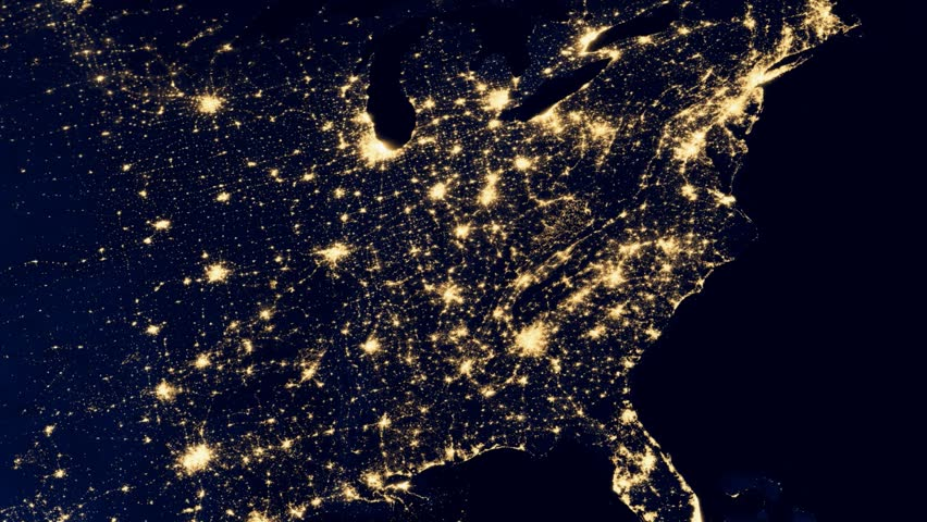 Southern United States Morning Sunrise Timelapse Planet Earth - Us map at night from space