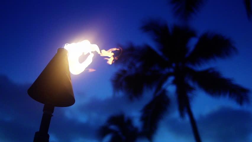 Tiki Torch, Slow Motion Fire, 240 fps, Beach Lantern