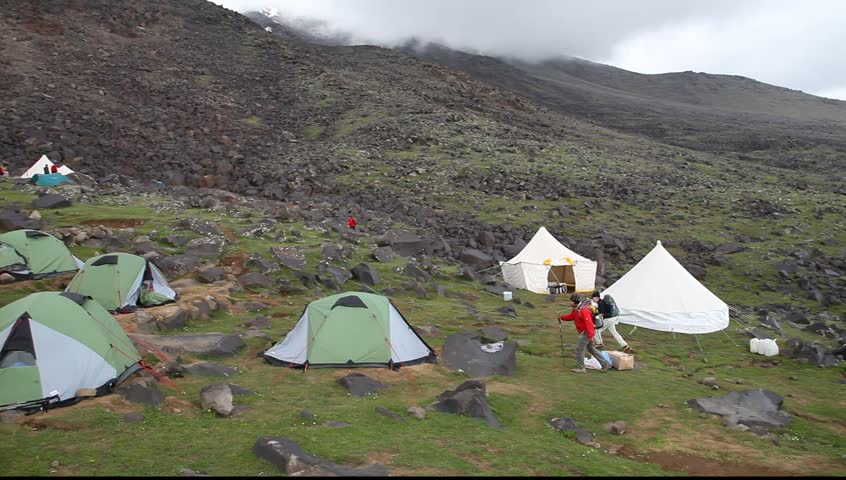 Climbers Established Tent In Green C& In Agri Turkey. Mount Agri Is The Highest Mountain In Turkey And It Is Believed That Noah Ark Is There. & Climbers Established Tent In Green Camp In Agri Turkey. Mount ...