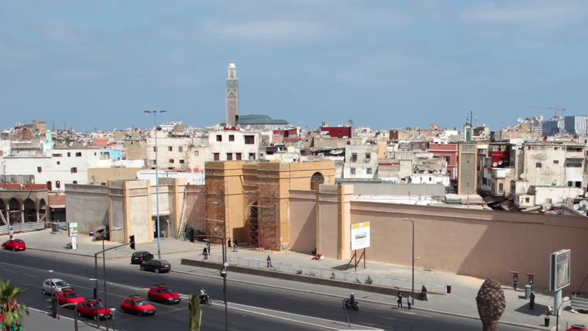 Aerial view of the United Nations Square in Casablanca, Morocco. Time Lapse Video. Zoom out