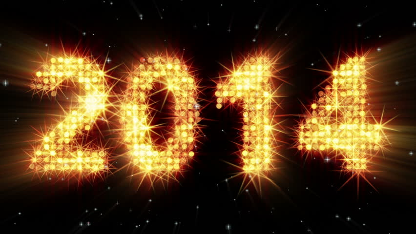 New year 2014 greeting glowing yellow particles. last 10 seconds are loopable