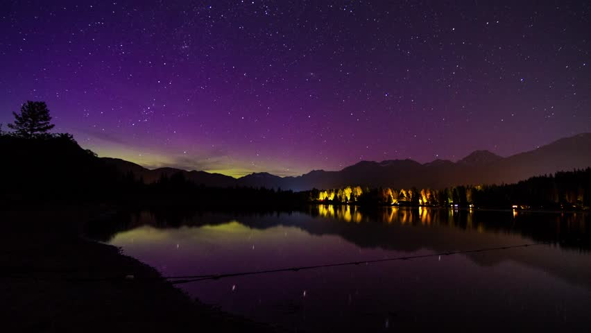 Aurora Borealis (northern lights) night sky at Alta Lake, Whistler, BC, Canada