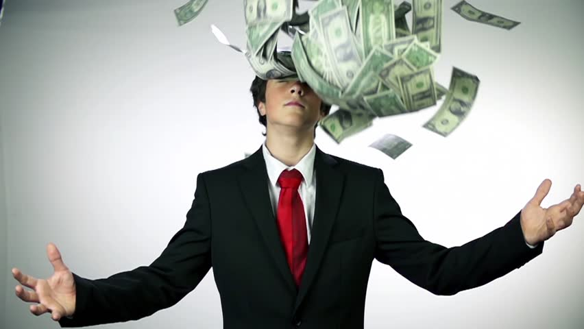 Money falling from sky on business boy. Slow motion money shots of young business man full of corrupted money, throwing it in the air and bribing.