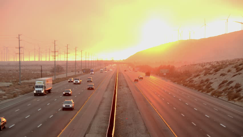 Time Lapse of Traffic on Highway with Fire Smoke Sunset- 4K - 4096x2304