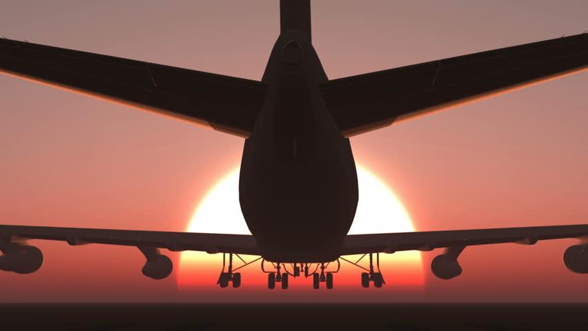 plane taking off sky sunset sun dusk
