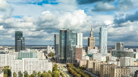 Warsaw Skyline City Timelapse with cloud Dynamic in Full HD 1080p, Polish Capital