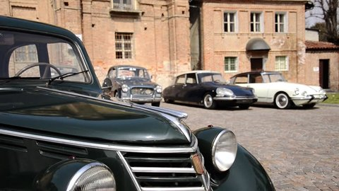vintage cars and ancient building